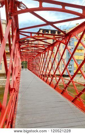 Girona. The bridge Eiffel or fish stores.