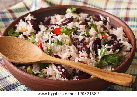 Gallo Pinto: Rice With Red Beans In A Bowl Close-up. Horizontal