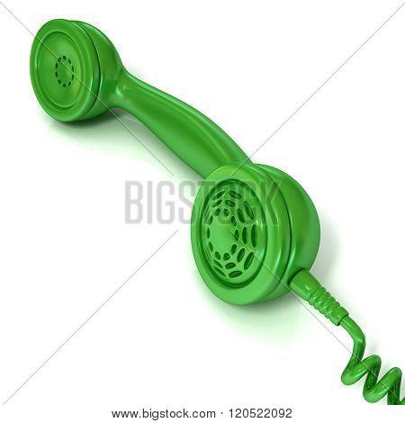 Green telephone handset retro illustration for design