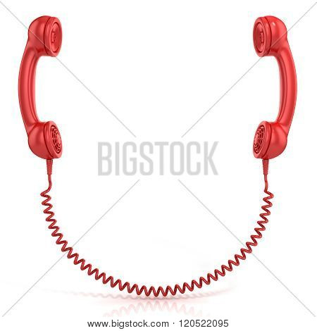 Red old fashion phone handsets connected isolated on white background front view