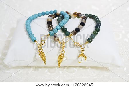 gemstone bracelets - turquoise and agate beads