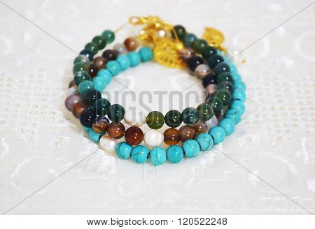 gemstone bracelets turquoise and agate beads