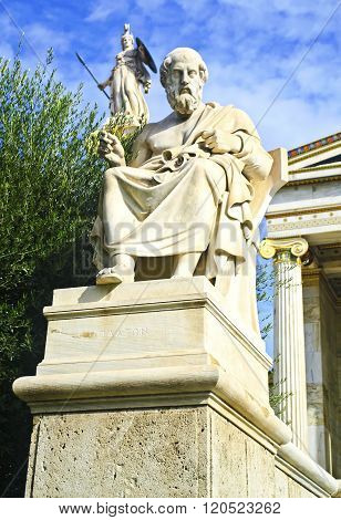 the statue of Plato outside of the Academy in Athens Greece