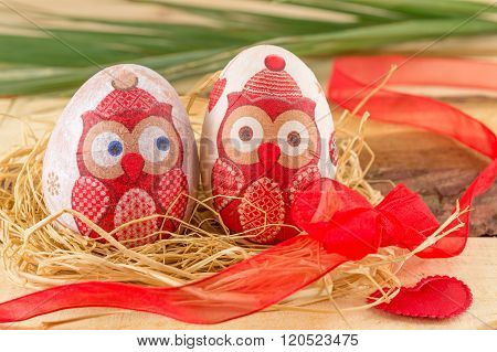 Owl Decoupage Decorated Easter Eggs