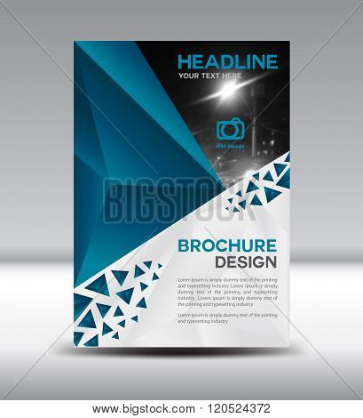 Blue Vector Brochure Flyer And Cover Template Polygon Vector Illustration Size A4