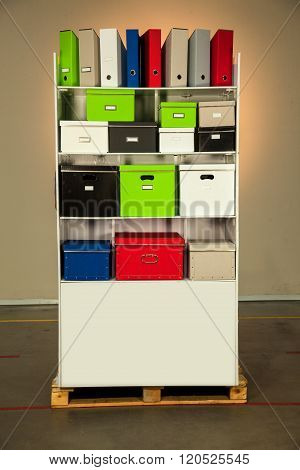 Documentation stand with boxes