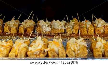 Taiwanese Famous Food, Steamed And Fried Stinky Tofu With Pickle In The Middle