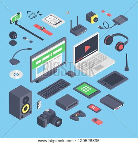 Vector set of isometric computer devices icons.Wireless technologies isometric computer devices icons set with mobile communication devices 3d.Isometric computer devices icons set