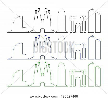 barcelona skyline illustrated and colored on white background