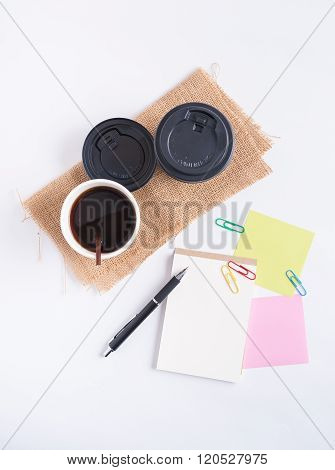 Notepad And Take Away Coffee Cup
