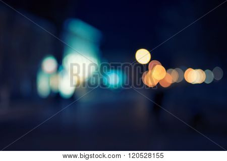 Artistic Style Defocused Urban abstract bokeh. City lights in the background with defocused lights f