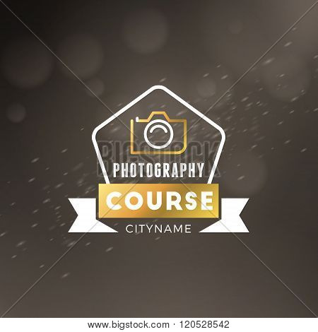 Photography Logo Design Template. Photography Retro Golden Badge. Photography Course