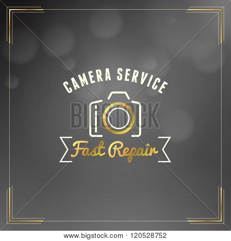 Photography Logo Design Template. Photography Retro Golden Badge. Camera Service. Photography Shop