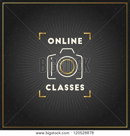 Photography Logo Design Template. Photography Retro Golden Badge. Online Classes. Photo Studio. Came