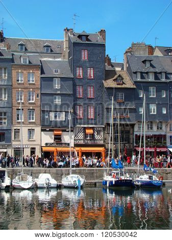 Honfleur. Houses Facade At Harbour