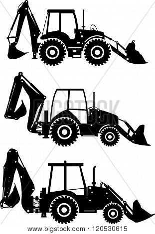 Set of different silhouettes backhoe loaders isolated on white background. Heavy construction and mi
