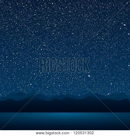 The lake, the mountains, the starry sky. Eps 10.