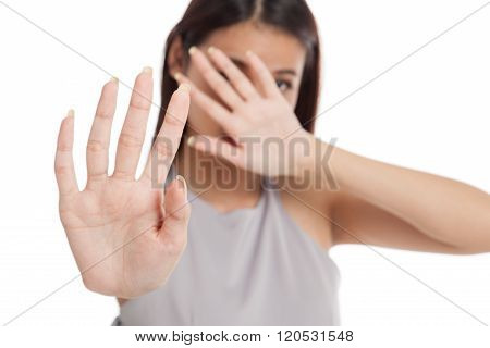 Young Asian Woman  Hide Her  Face Focus At Hand