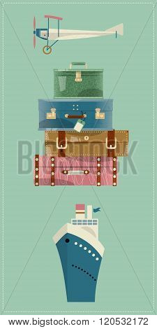 Stack Of Vintages Suitcases. Bon Voyage Card, Retro Style.