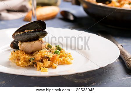 Traditional Seafood Paella In The Pan