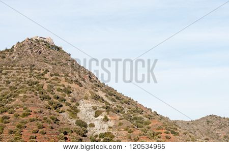 Famous Greek Orthodox monastery of Stavrovouni at the top of a hill in Cyprus. Stavrovouni Monastery is one of the oldest monasteries in the world.