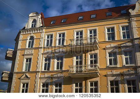 Art Nouveau facade of the building with balconies