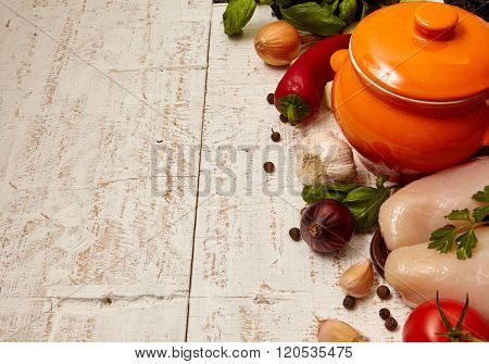 vegetables and meat , an ingredient for soup