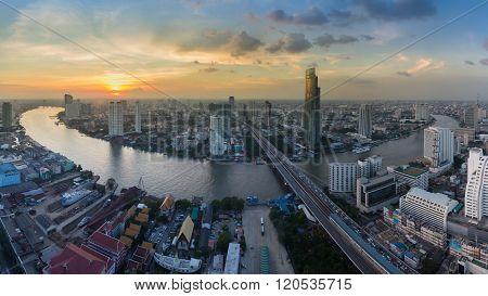 Panorama beautiful aerial view Bangkok river curved during sunset, Bangkok Thailand