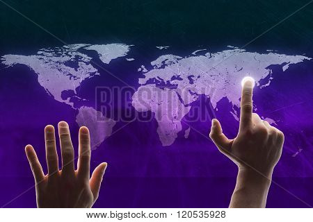 Hands touching holographic screen