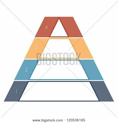 Numbered Template Infographics Colorful Pyramid, Text Area 4 Positions