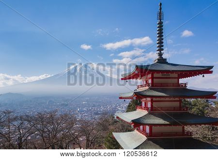 Mt. Fuji with red Chureito Pagoda