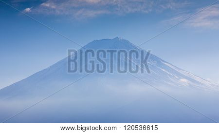 Closed up snow covered Mt. Fuji volcano, Japan