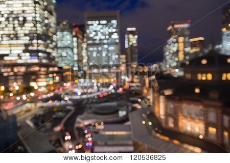 Bokeh lights blurred Tokyo central station night view