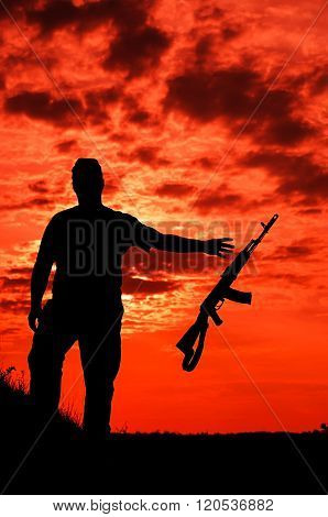 silhouette of a soldier
