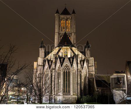 Saint Nicholas' Church in Ghent City Center at night.