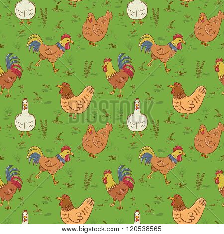 Roosters And Hens Seamless Pattern