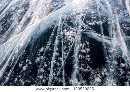 Dark ice and white cracks