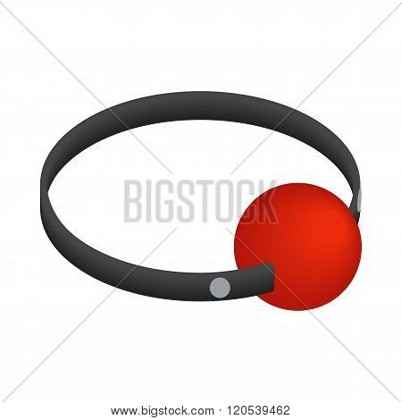 Red ball gag with a belticon, isometric 3d style