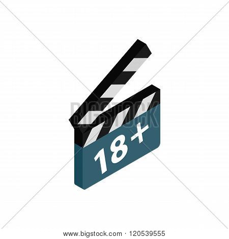 Movie clapper with rate 18 plus icon