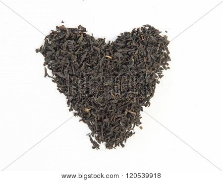 earl grey heart shape isolated on white