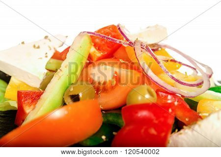Greek  Vegetable Salad With Feta Or Goat Cheese.