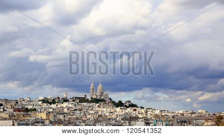 Panoramic Rainy Sky Over Montmartre, In Paris City, France.