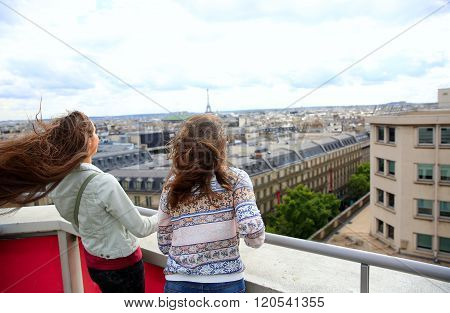 Happy Beautiful Girls In Paris