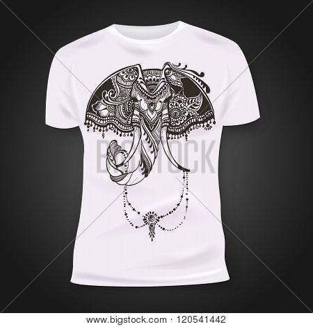 T-shirt print design with hand-drawn mehendi elephant head.  Ethnic african, indian, totem tatoo des