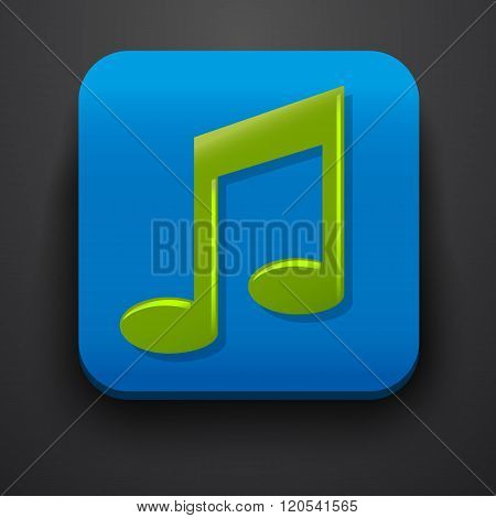 Green music symbol icon on blue