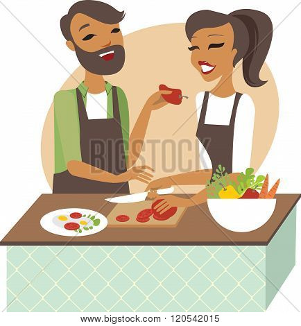 Young Couple Preparing Meal Together