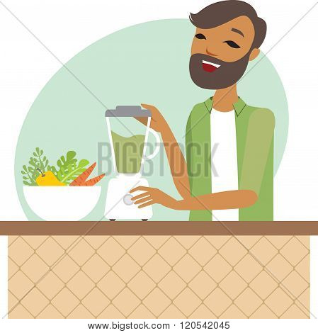 Young Man Preparing Smoothie