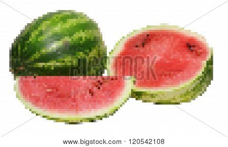 Pixel mosaic illustration of watermelon - full half and quarter isolated on white