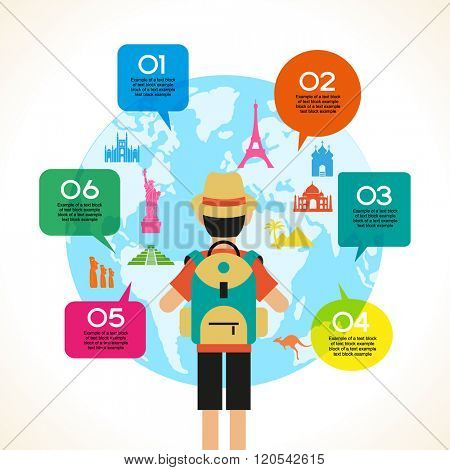Travel and tourism background. Colorful template with traveler and icons, tourism landmarks. Illustration of flat design travel composition with famous world landmarks. File is saved in 10 EPS.