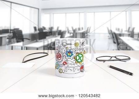 Cup With Business Scheme Print And Badge On The Table In Open Space Office, 3D Render